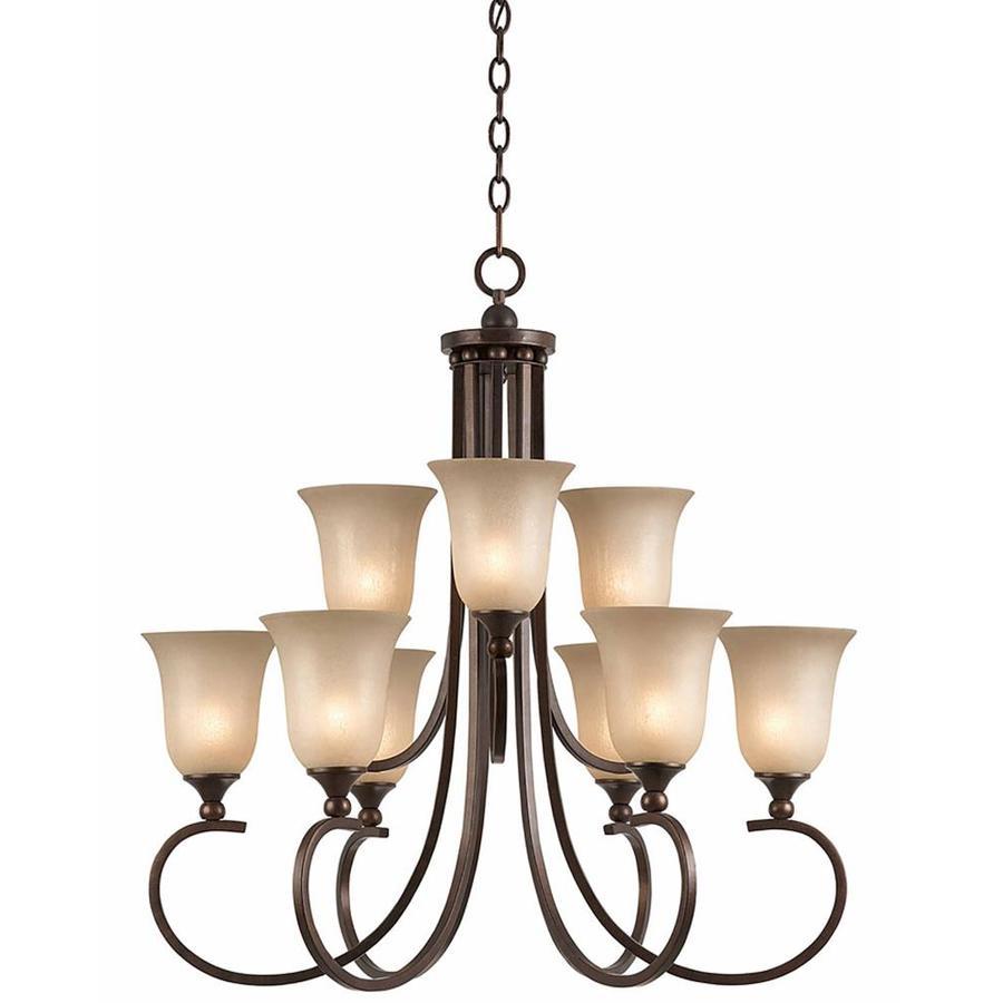 Raissa 30-in 9-Light Bronze Scavo Glass Tiered Chandelier