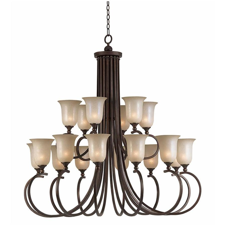 Raissa 50-in 18-Light Bronze Scavo Glass Tiered Chandelier