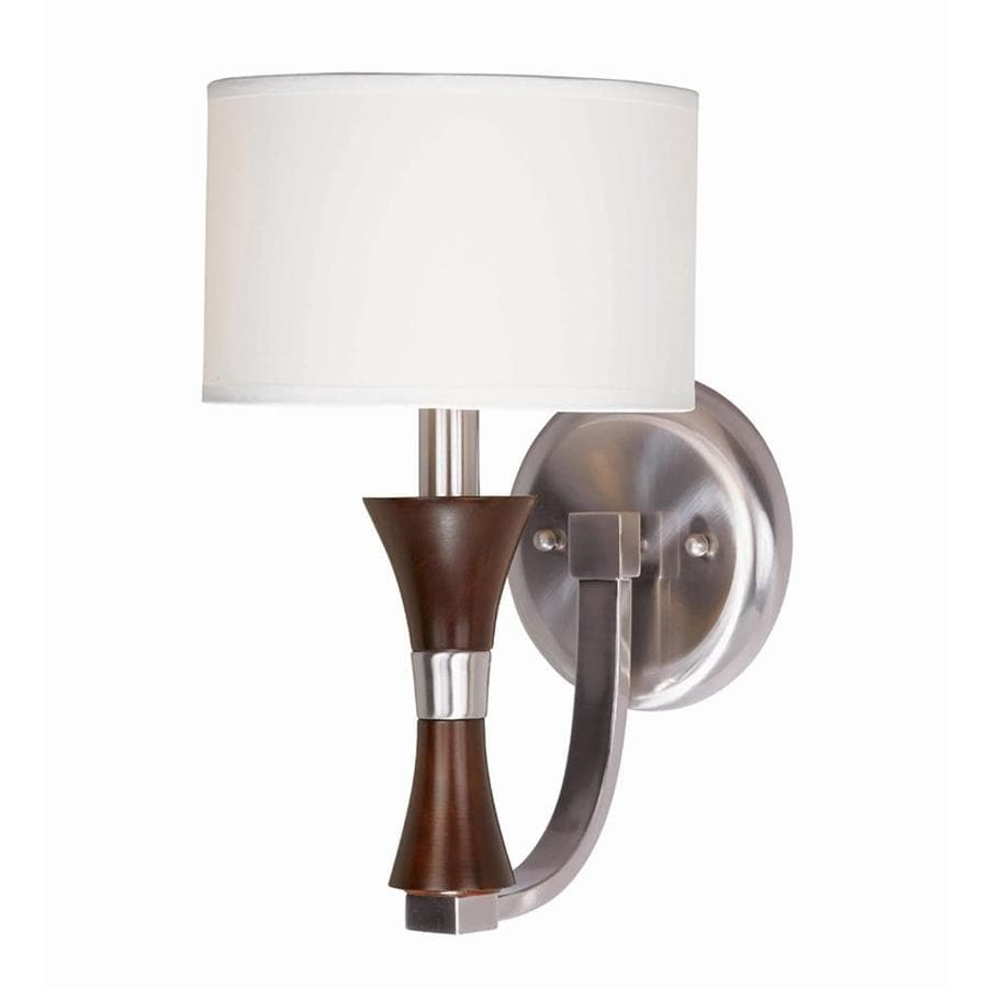 Decoste 7-in W 1-Light Redwood and Satin Nickel Arm Hardwired Wall Sconce