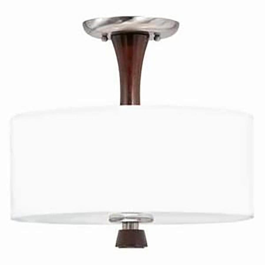 Decoste 13-in W Redwood and Satin Nickel Fabric Semi-Flush Mount Light
