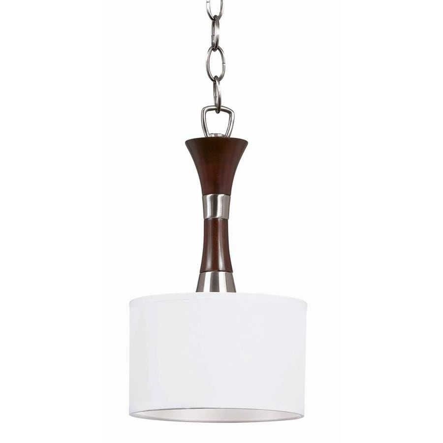 Decoste 7-in Redwood and Satin Nickel Mini Pendant