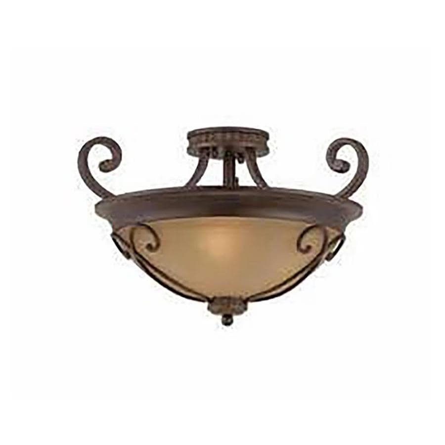 Stepanov 20-in W Bronze Tea-Stained Glass Semi-Flush Mount Light