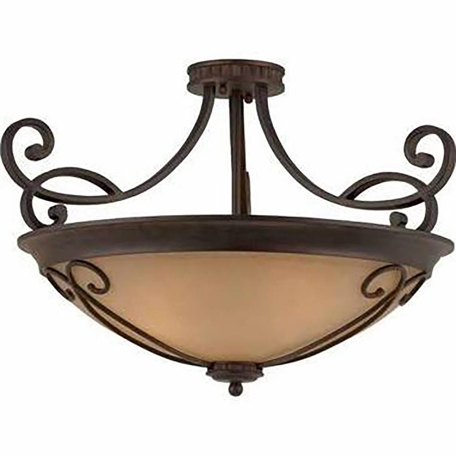 Stepanov 26-in W Bronze Tea-stained Glass Semi-Flush Mount Light