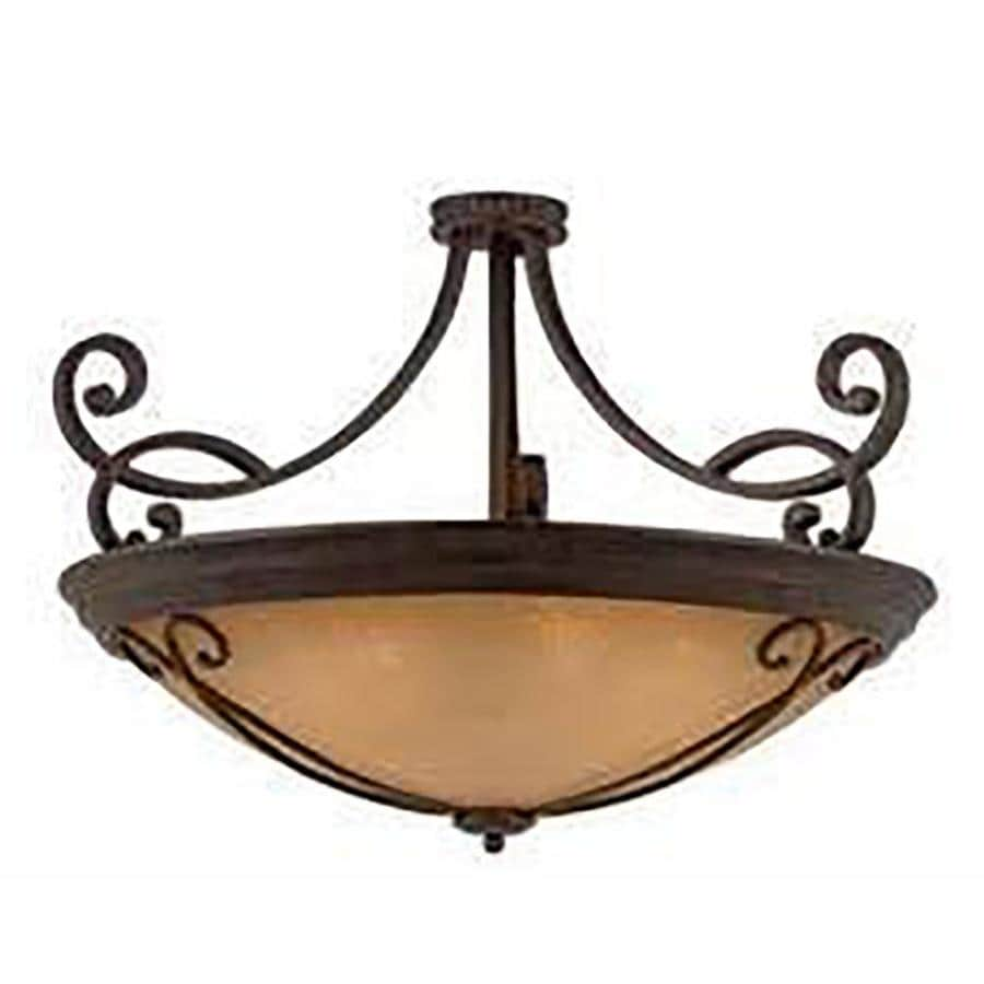 Stepanov 35-in W Bronze Tea-Stained Glass Semi-Flush Mount Light