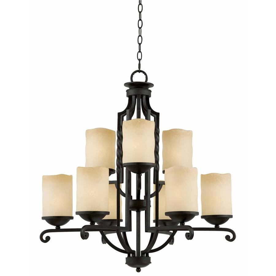 Gaia 31-in 9-Light Textured Black Textured Glass Candle Chandelier