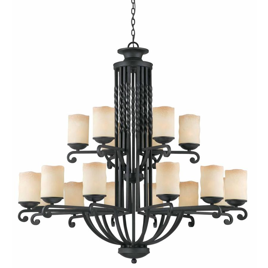 Mera 52-in 18-Light Textured Black Textured Glass Candle Chandelier