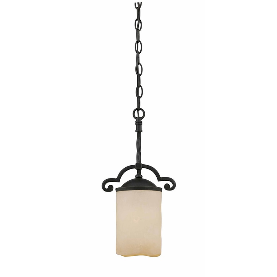 Gaia 8-in Textured Black Mini Tinted Glass Pendant
