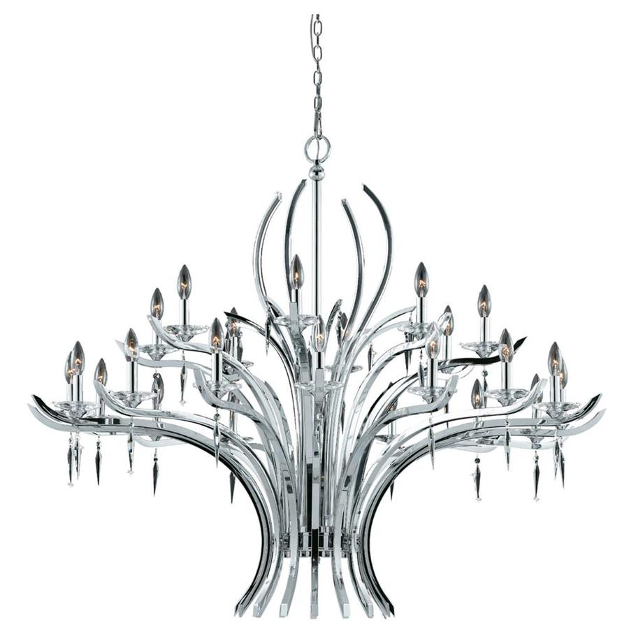 Vieira 52-in 24-Light Chrome Plated Candle Chandelier