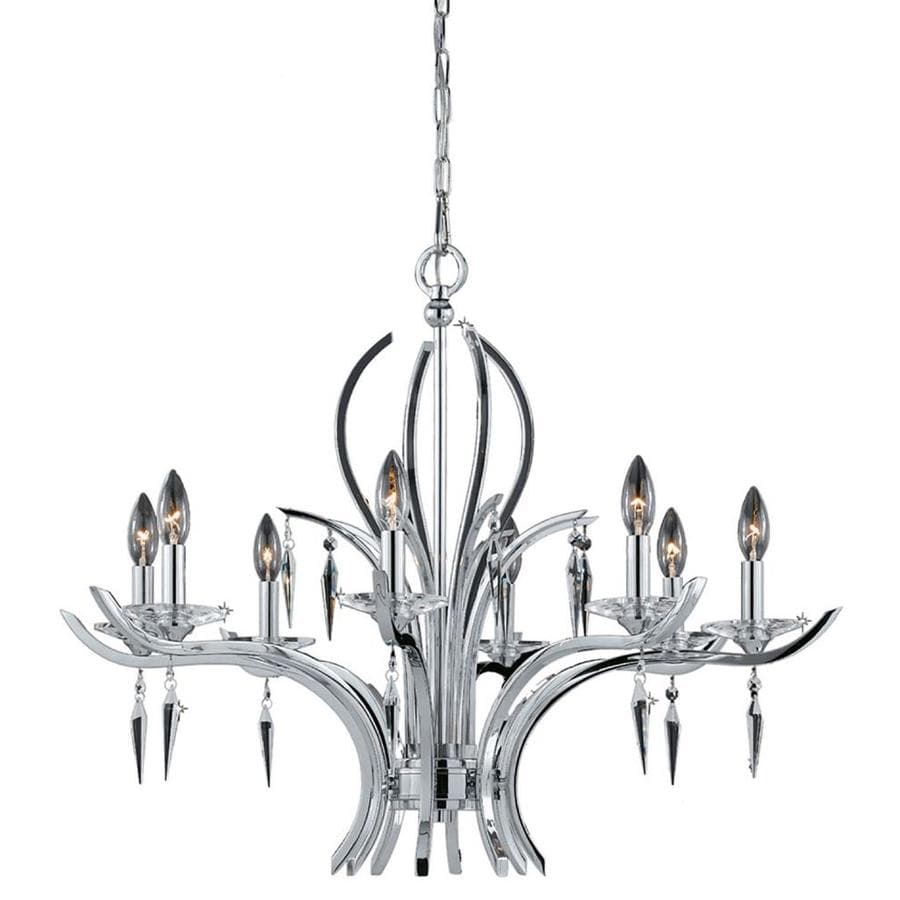 Vieira 33-in 8-Light Chrome plated Candle Chandelier