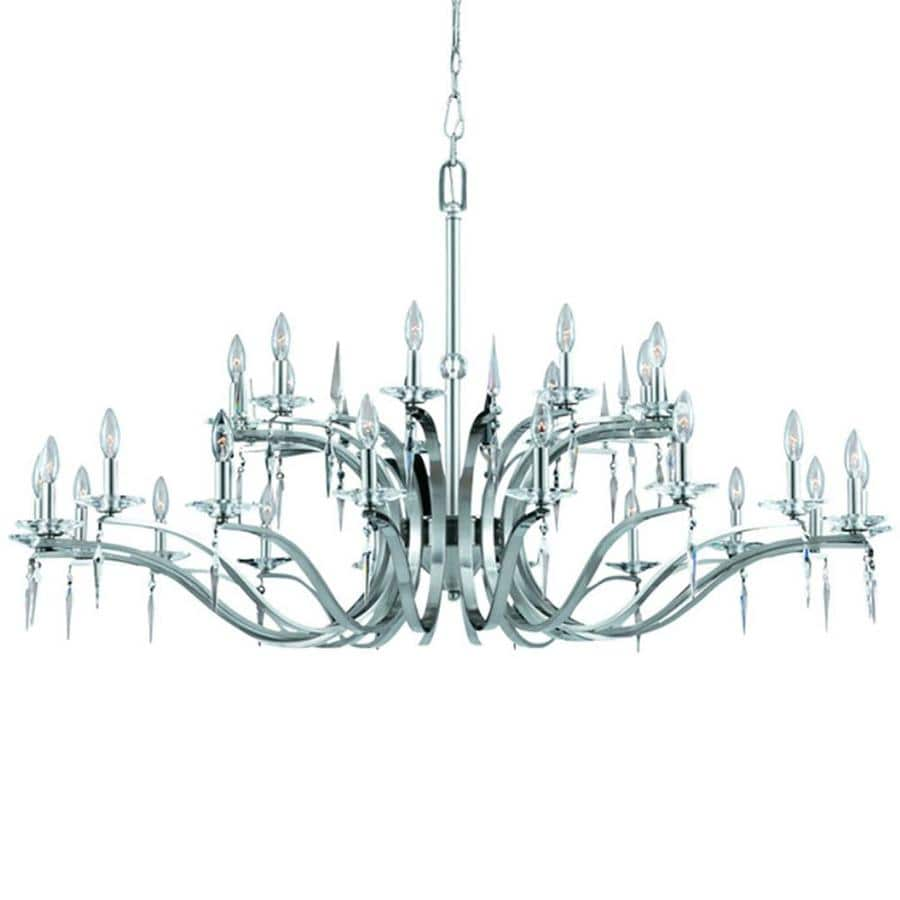 Alois 54-in 27-Light Satin Nickel Candle Chandelier