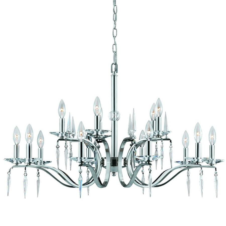 Alois 35-in 15-Light Satin Nickel Candle Chandelier