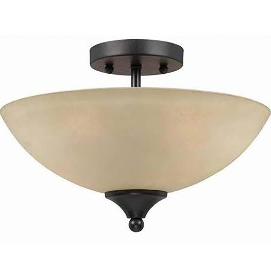 Anitra 14-in W Bronze Tea-Stained Glass Semi-Flush Mount Light