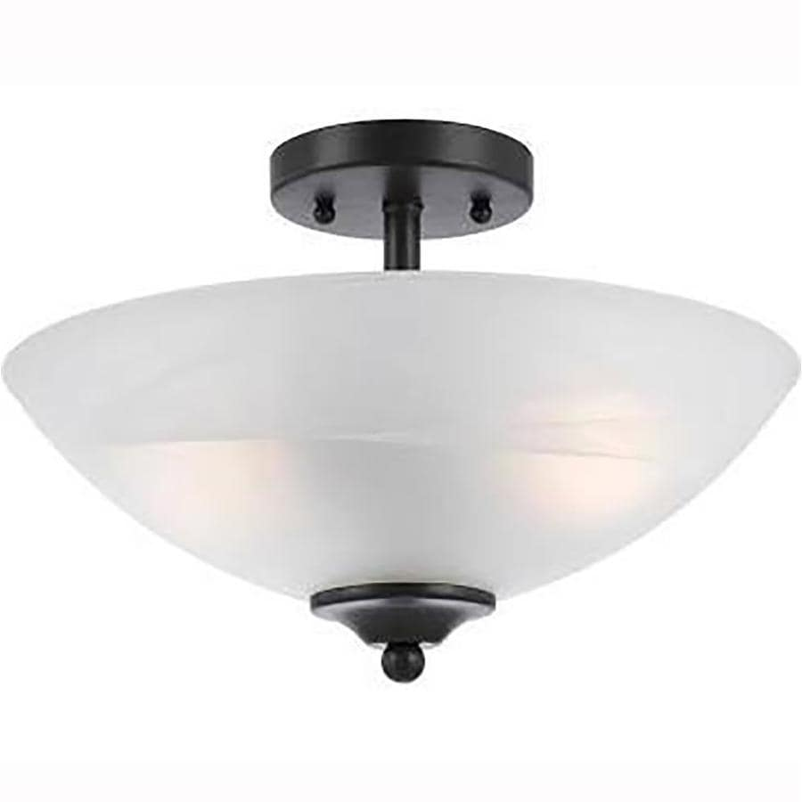 Candace 14-in W Bronze Alabaster Glass Semi-Flush Mount Light