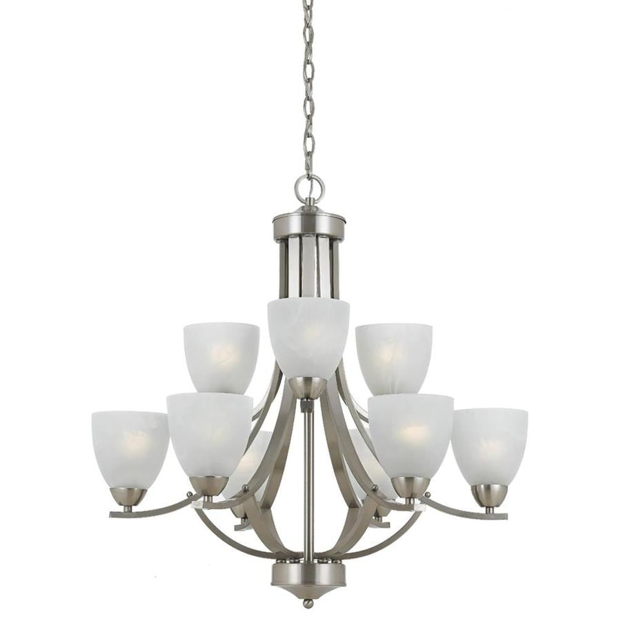 Werra 28-in 9-Light Satin Nickel Alabaster Glass Candle Chandelier