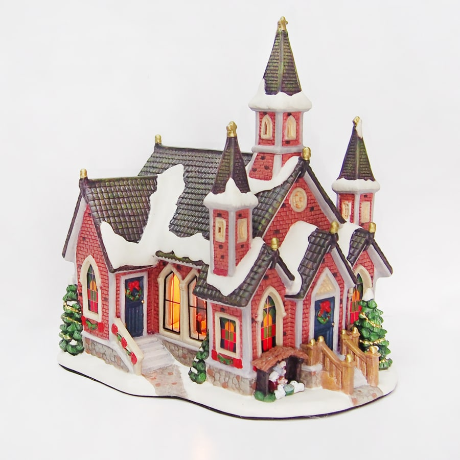 Carole Towne Lighted Church With Christmas Tree at Lowes.com