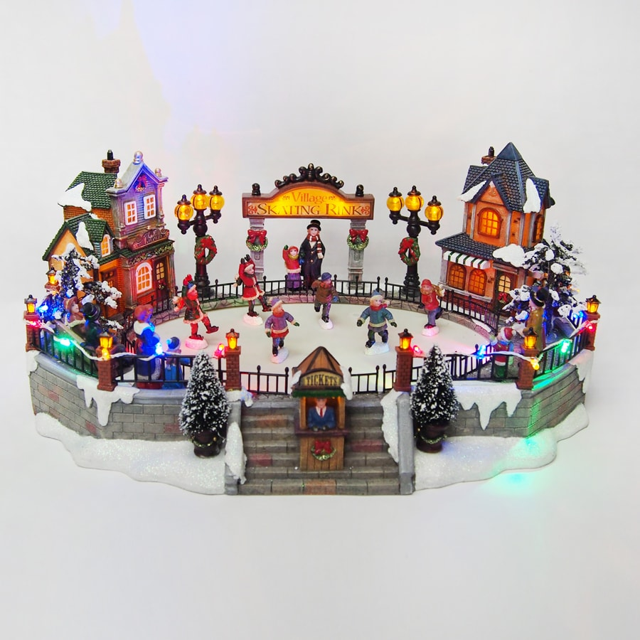 carole towne animatronic lighted musical village scene - Lowes Christmas Village