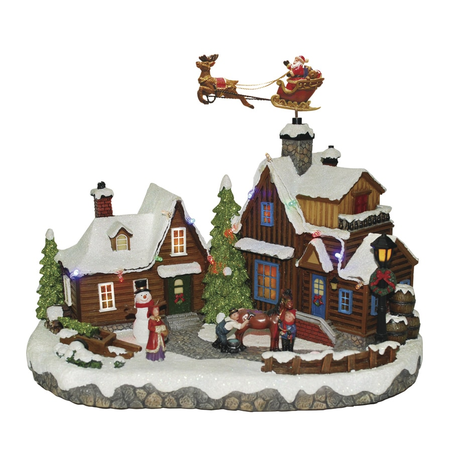 holiday living carole towne lighted musical santa fly village scene