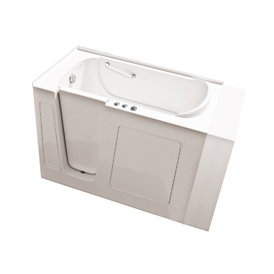 Endurance Endurance Tubs 30-in L x 53-in W x 38-in H Biscuit Fiberglass Rectangular Walk-in Whirlpool Tub and Air Bath