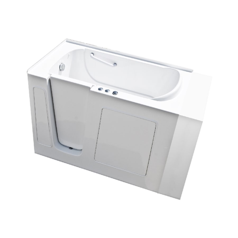 Endurance Endurance Tubs 30-in L x 53-in W x 38-in H White Fiberglass Rectangular Walk-in Whirlpool Tub and Air Bath