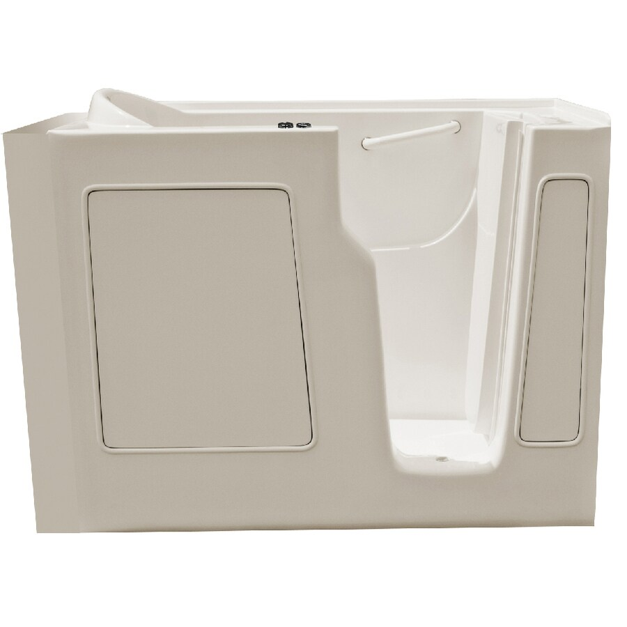 Endurance Endurance Tubs 52-in Biscuit Fiberglass Walk-In Whirlpool Tub with Right-Hand Drain