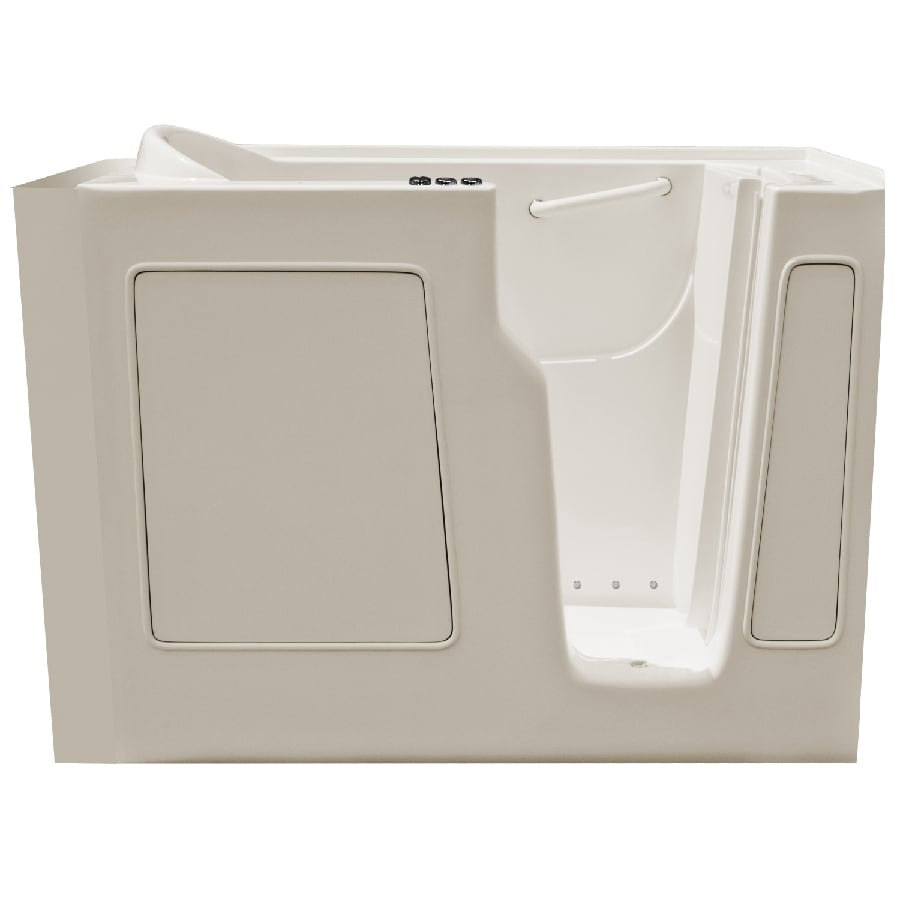 Endurance Endurance Tubs 29-in Biscuit Fiberglass Walk-In Whirlpool Tub and Air Bath with Right-Hand Drain