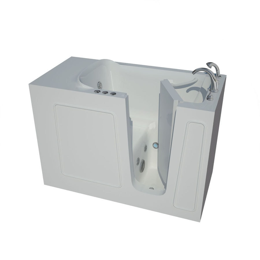 Shop endurance tubs 53 in white fiberglass walk in for Fiberglass garden tub