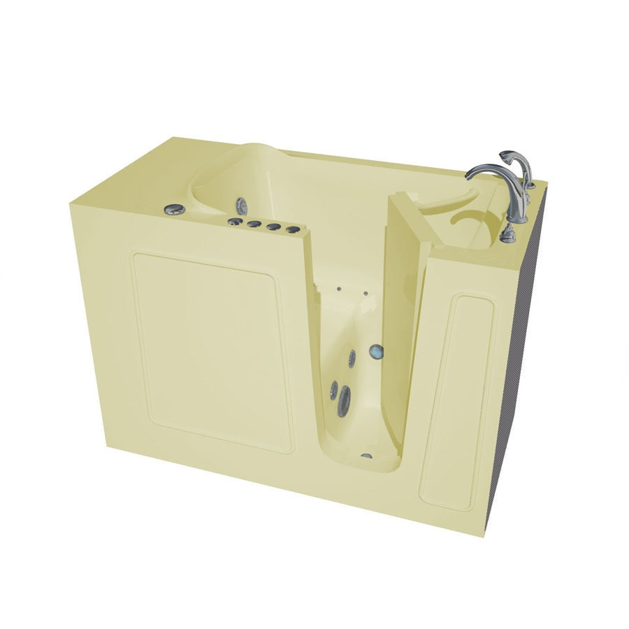 Endurance Endurance Tubs 26-in L x 53-in W x 38-in H Biscuit Fiberglass Rectangular Walk-in Whirlpool Tub and Air Bath