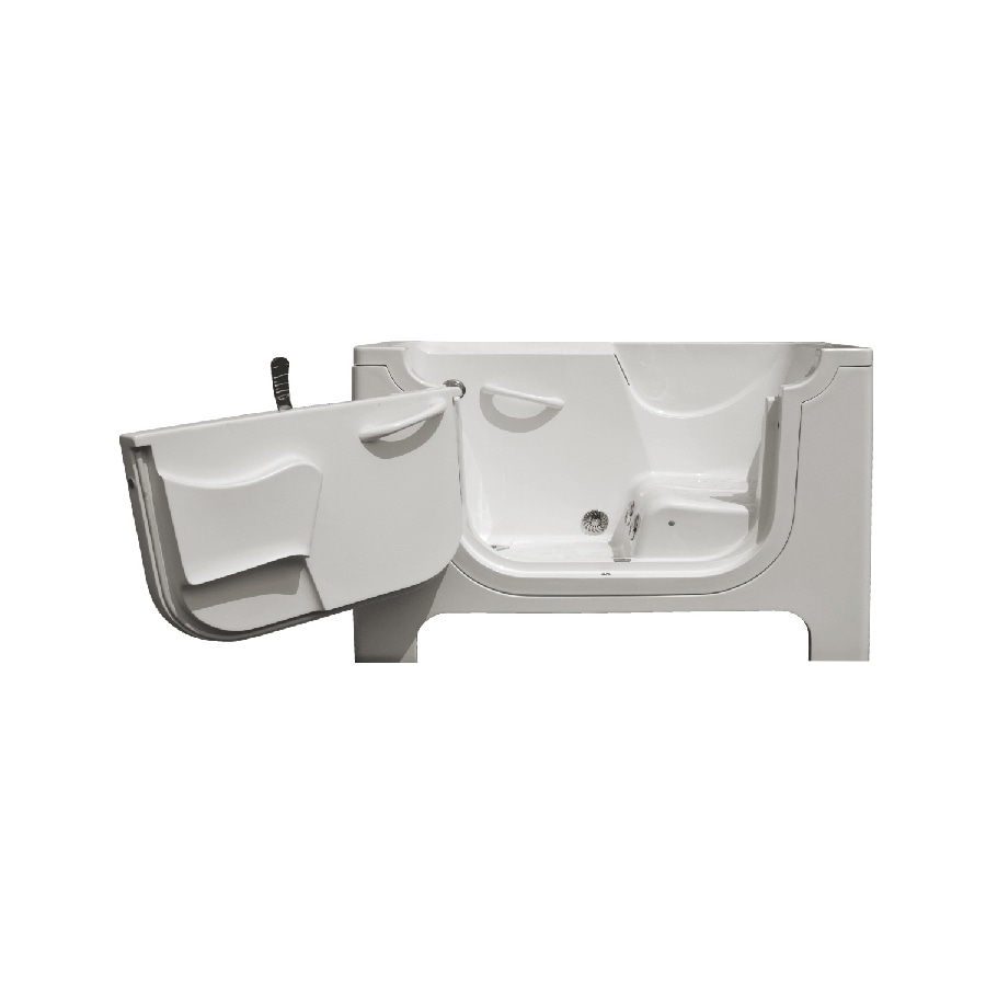 Endurance Endurance Tubs 60-in White Fiberglass Walk-In Whirlpool Tub with Left-Hand Drain