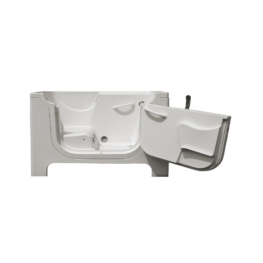Endurance Tubs 60-in White Fiberglass Walk-In Whirlpool Tub with Right-Hand Drain