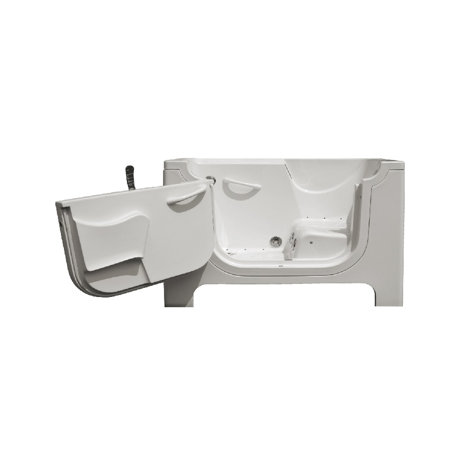 Endurance Endurance Tubs 30-in White Fiberglass Walk-In Whirlpool Tub and Air Bath with Left-Hand Drain