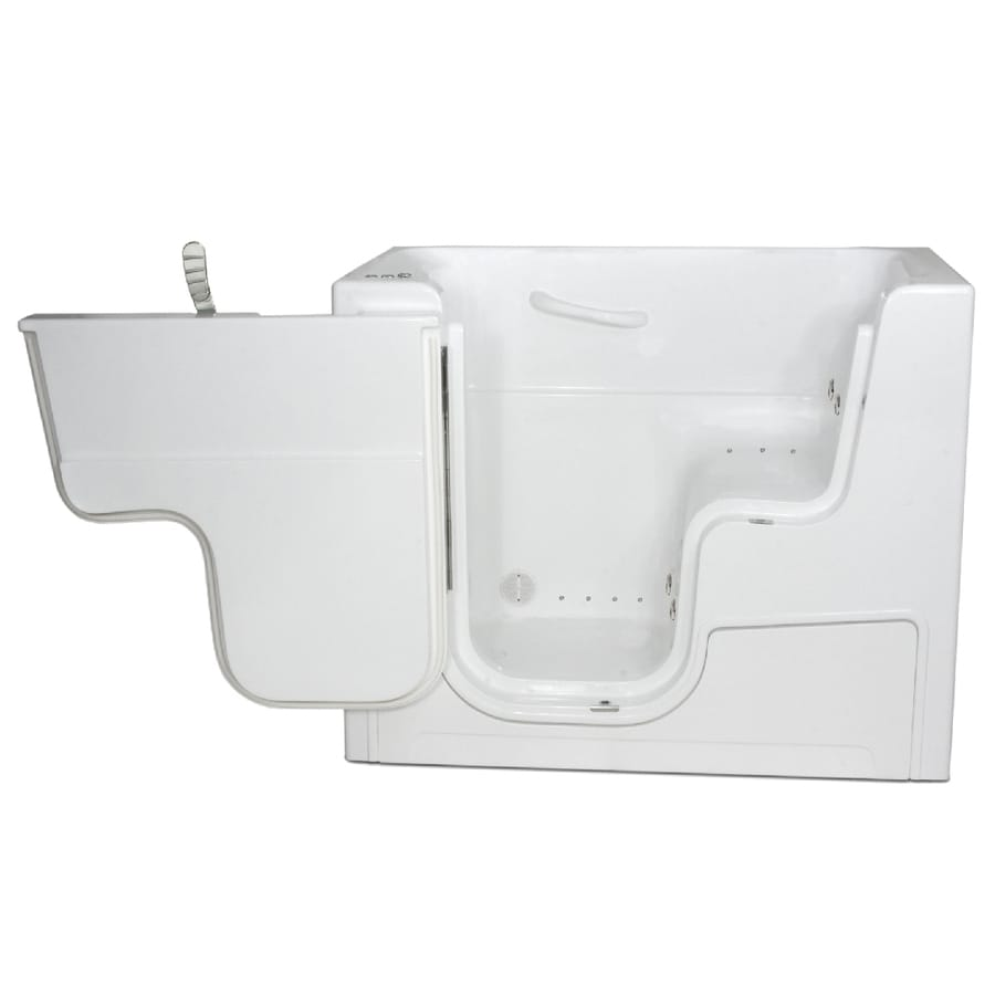 Endurance Endurance Tubs 29-in L x 53-in W x 42-in H White Fiberglass Rectangular Walk-in Whirlpool Tub and Air Bath