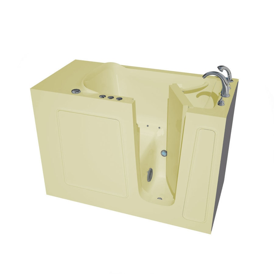 Endurance Endurance Tubs 26-in Biscuit Fiberglass Walk-In Air Bath with Right-Hand Drain