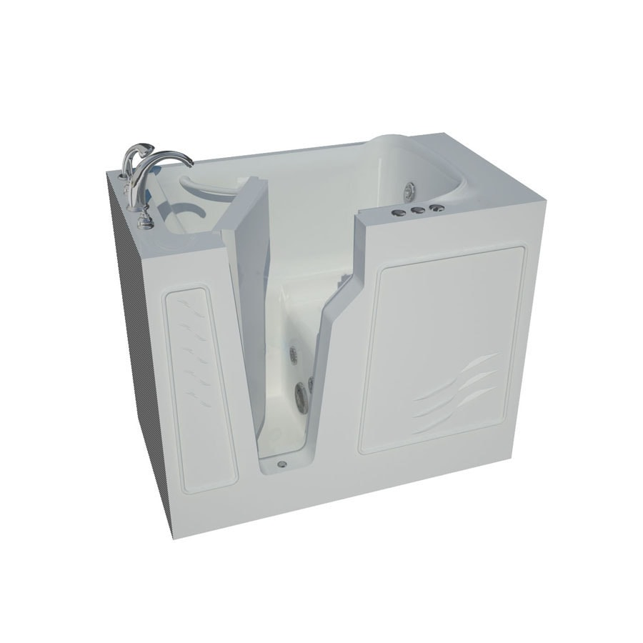 Endurance Endurance Tubs White Fiberglass Rectangular Walk-in Whirlpool Tub (Common: 26-in x 46-in; Actual: 38-in x 26-in x 46-in)