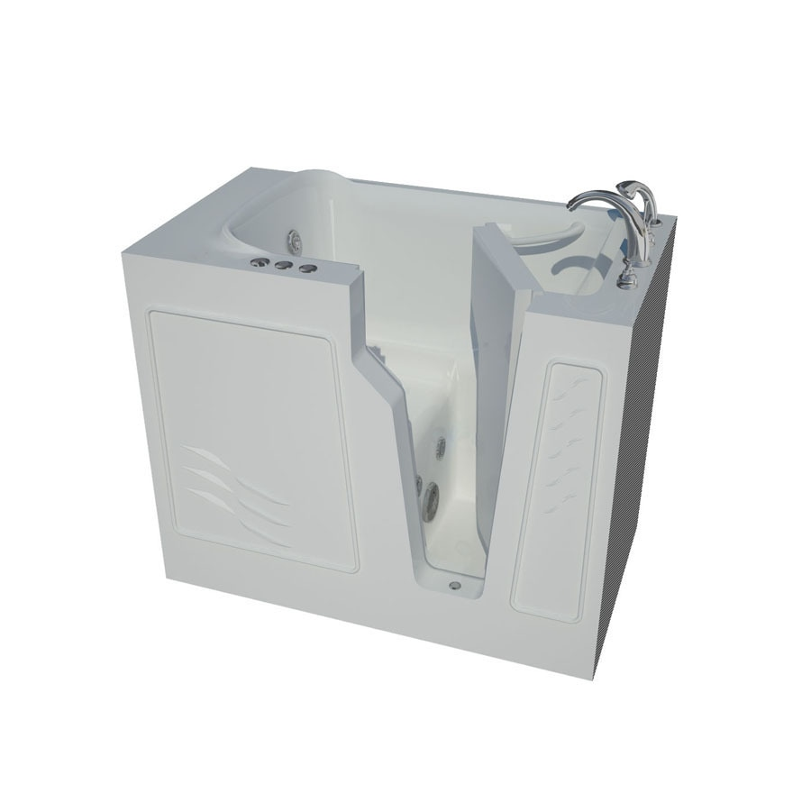Endurance Endurance Tubs 46-in White Fiberglass Walk-In Whirlpool Tub with Right-Hand Drain
