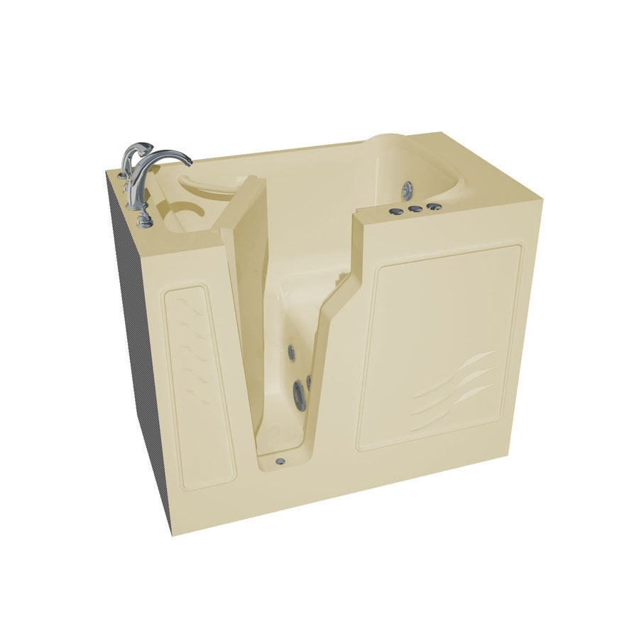 Endurance Endurance Tubs 46-in Biscuit Fiberglass Walk-In Whirlpool Tub with Left-Hand Drain