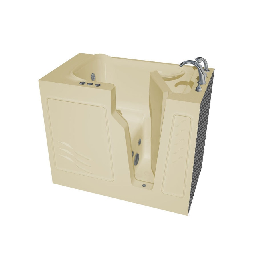 Endurance Endurance Tubs 46-in Biscuit Fiberglass Walk-In Whirlpool Tub with Right-Hand Drain
