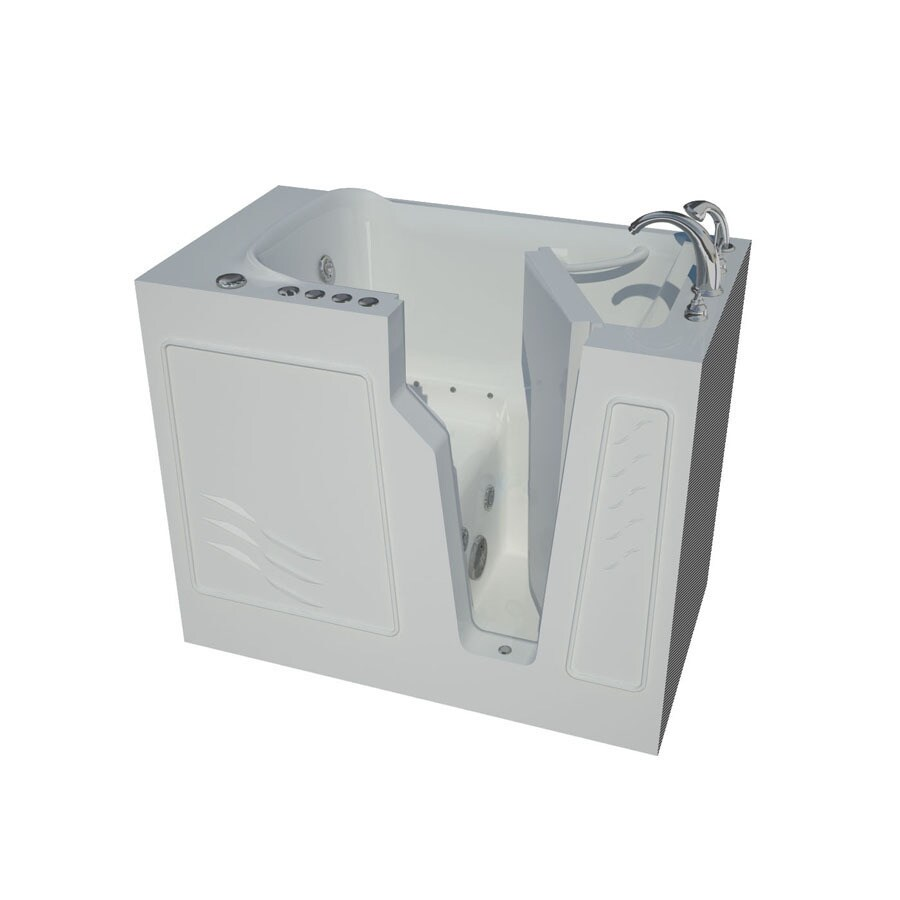 Endurance Tubs 26-in White Fiberglass Walk-In Whirlpool Tub And Air Bath with Right-Hand Drain
