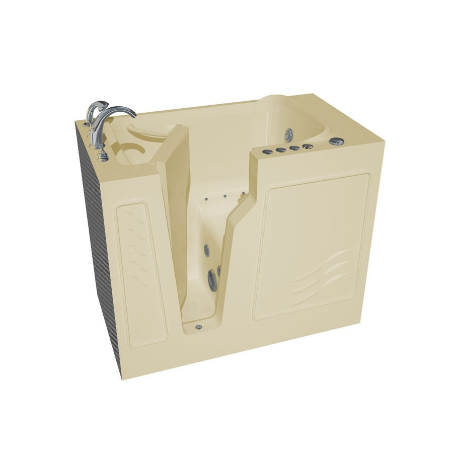 Endurance Tubs 26-in Biscuit Fiberglass Walk-In Whirlpool Tub And Air Bath with Left-Hand Drain