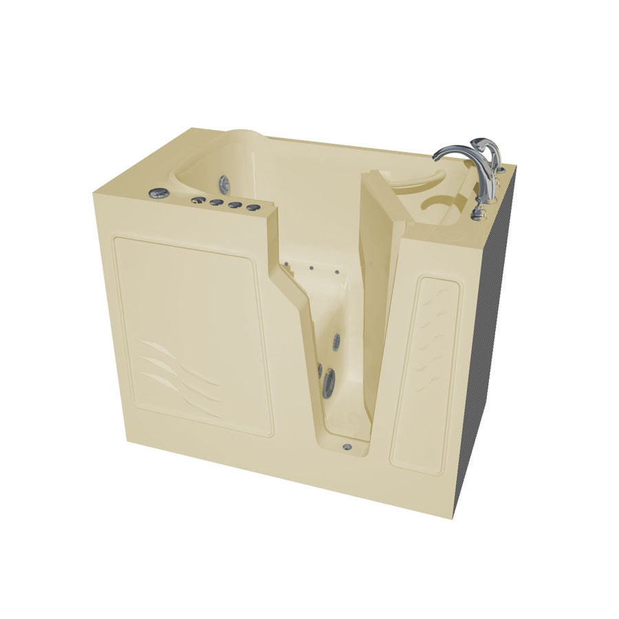 Endurance Endurance Tubs 26-in L x 46-in W x 38-in H Biscuit Fiberglass Rectangular Walk-in Whirlpool Tub and Air Bath