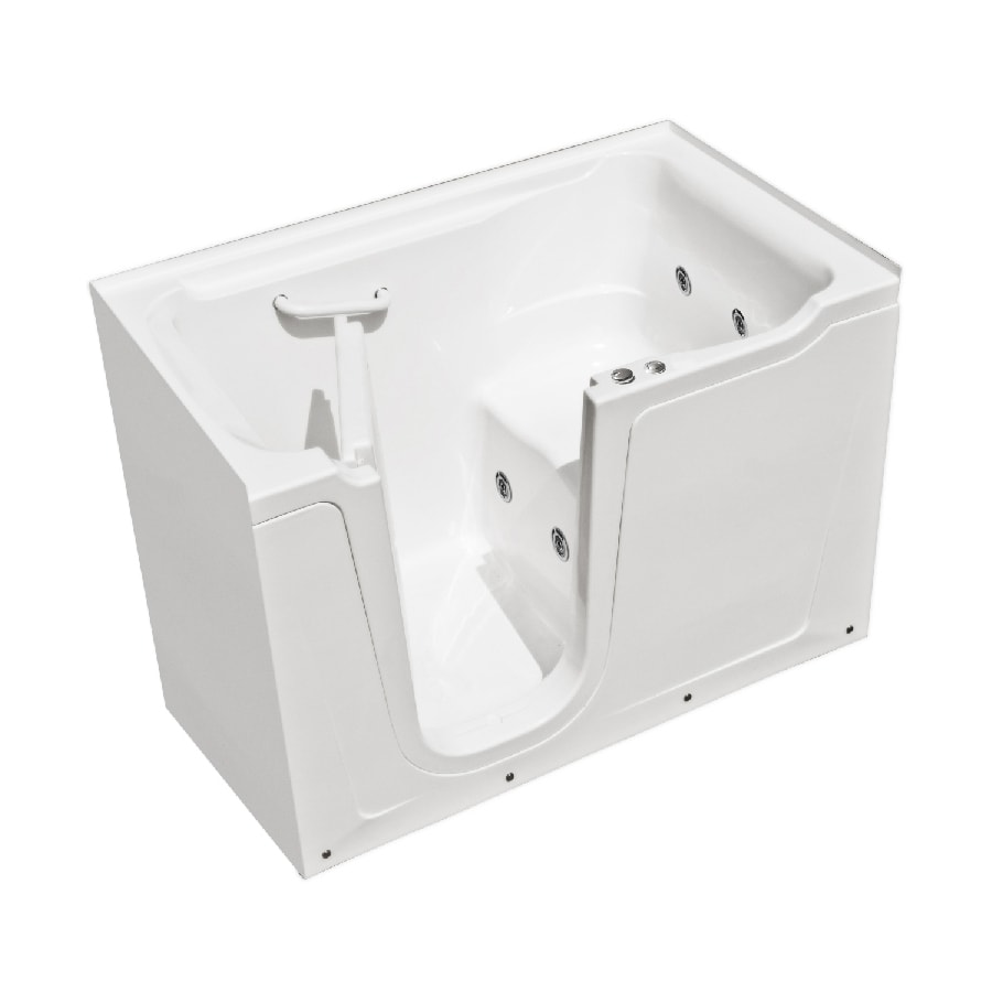 Shop endurance tubs 60 in white fiberglass walk in for Fiberglass garden tub
