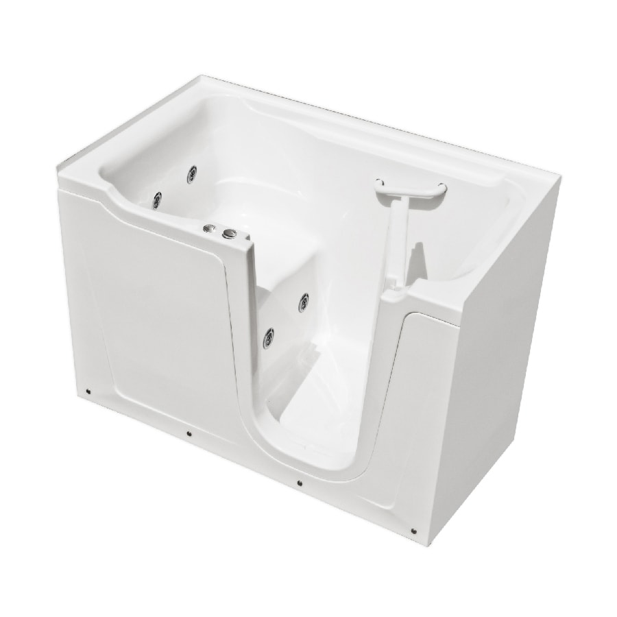 Shop endurance endurance tubs 60 in white fiberglass walk for Fiberglass garden tub