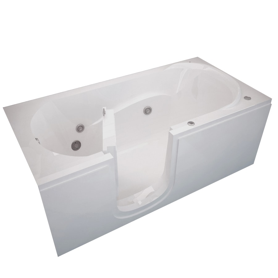 Endurance Tubs 60-in White Acrylic Walk-In Whirlpool Tub with Left-Hand Drain