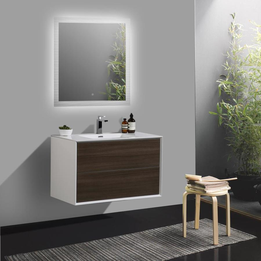 Bai 35 4 In Gray Oak Single Sink Bathroom Vanity With White Acrylic