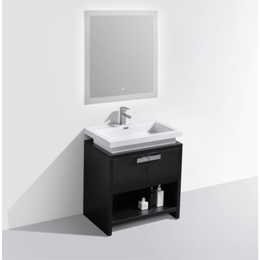 Bai 29 5 In Black Single Sink Bathroom Vanity With White