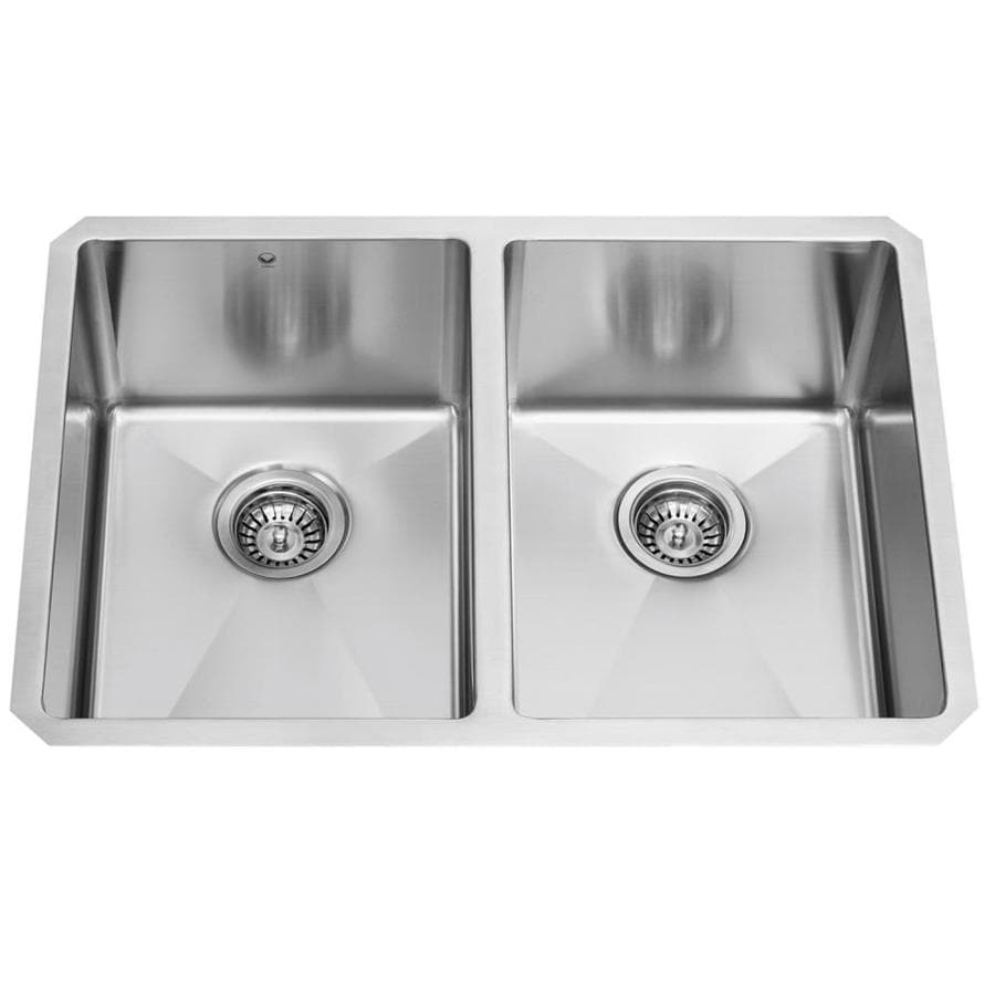 VIGO 29.0-in x 20.0-in Premium Satin Double-Basin Stainless Steel Undermount Commercial/Residential Kitchen Sink