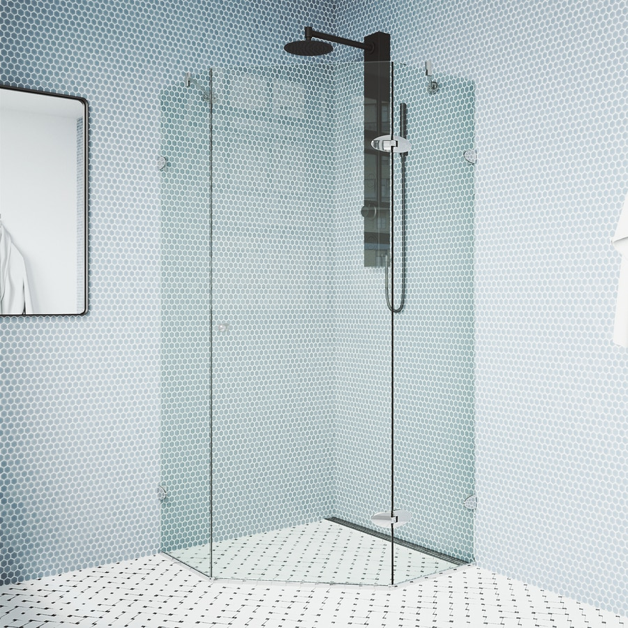 Shop VIGO Neo-Angle Shower Enclosure Frameless Shower Door at Lowes.com