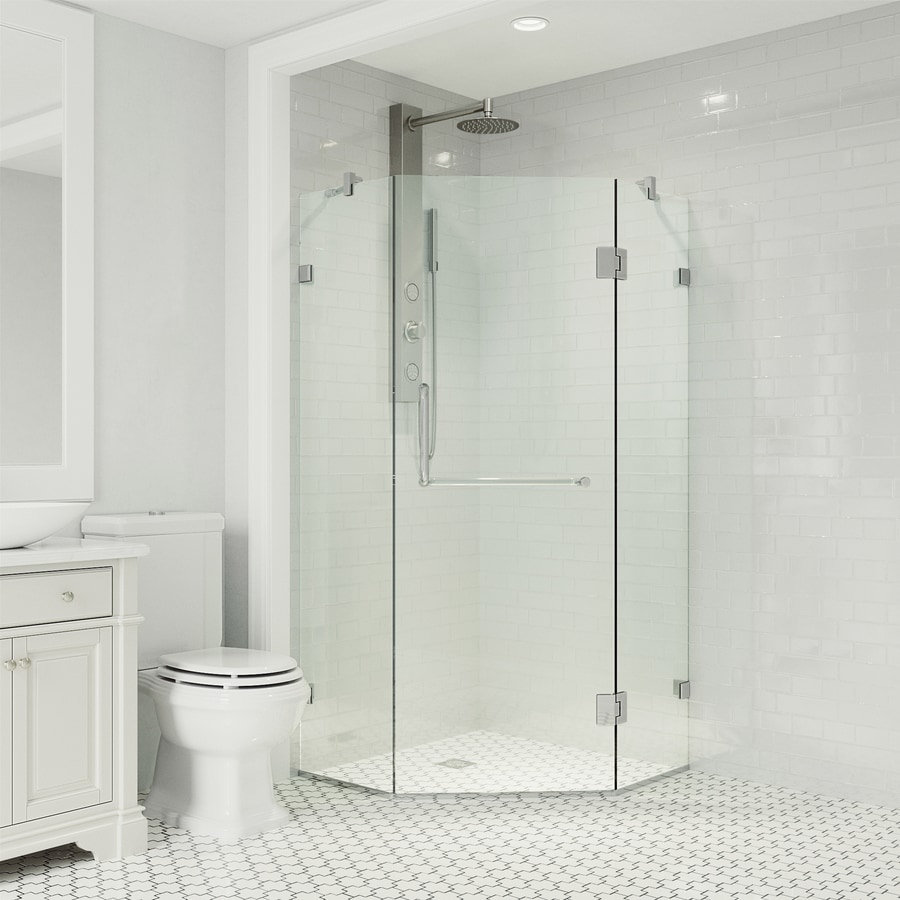 VIGO Piedmont 36-in to 36-in Frameless Chrome Hinged Shower Door