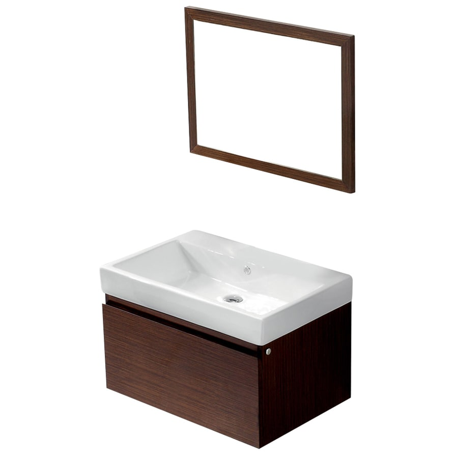 VIGO Wenge 30.5-in Integral Single Sink Bathroom Vanity with Vitreous China Top