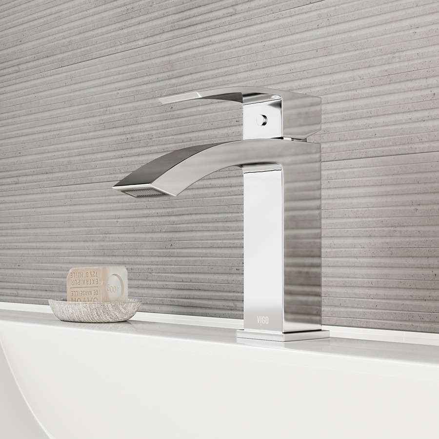 Shop vigo satro chrome 1 handle single hole watersense for Single hole bathroom faucets