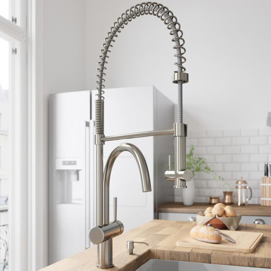 VIGO Dresden Stainless Steel 2-Handle Deck Mount Pull-Down Kitchen Faucet